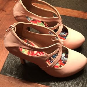 Qupid Pale Pink Platform Heels